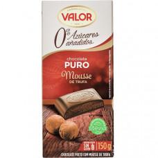 Шоколад экстра черный со стевией (без сахара) с муссовой начинкой трюфеля (Валор) 0,150 кг