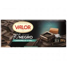 Шоколад чисто черный 70% с карамелью и солью (Валор) 0,200 кг