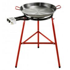 Набор для паэльи сковорода (паэльера шлифованное железо) Ø 50 см + Крышка Ø 50см + Конфорка Ø 50 см (2 контура) + Подставка
