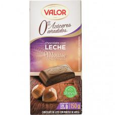 Шоколад молочный со стевией (без сахара) с муссовой начинкой лесного ореха (Валор) 0,150 кг