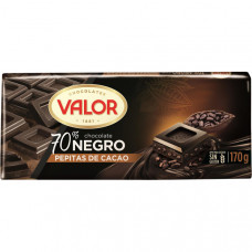 Шоколад экстра черный 70% какао c зернами какао бобов (Валор) 0,170 кг