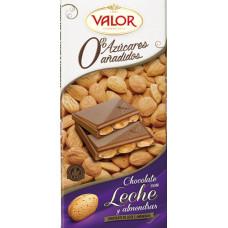 Шоколад молочный с миндалем без сахара (Валор) 0,150 кг