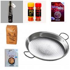 Набор для паэльи: специи, рис бомба, сковорода-паэльера из шлифованного железа Ø 32см, оливковое масло